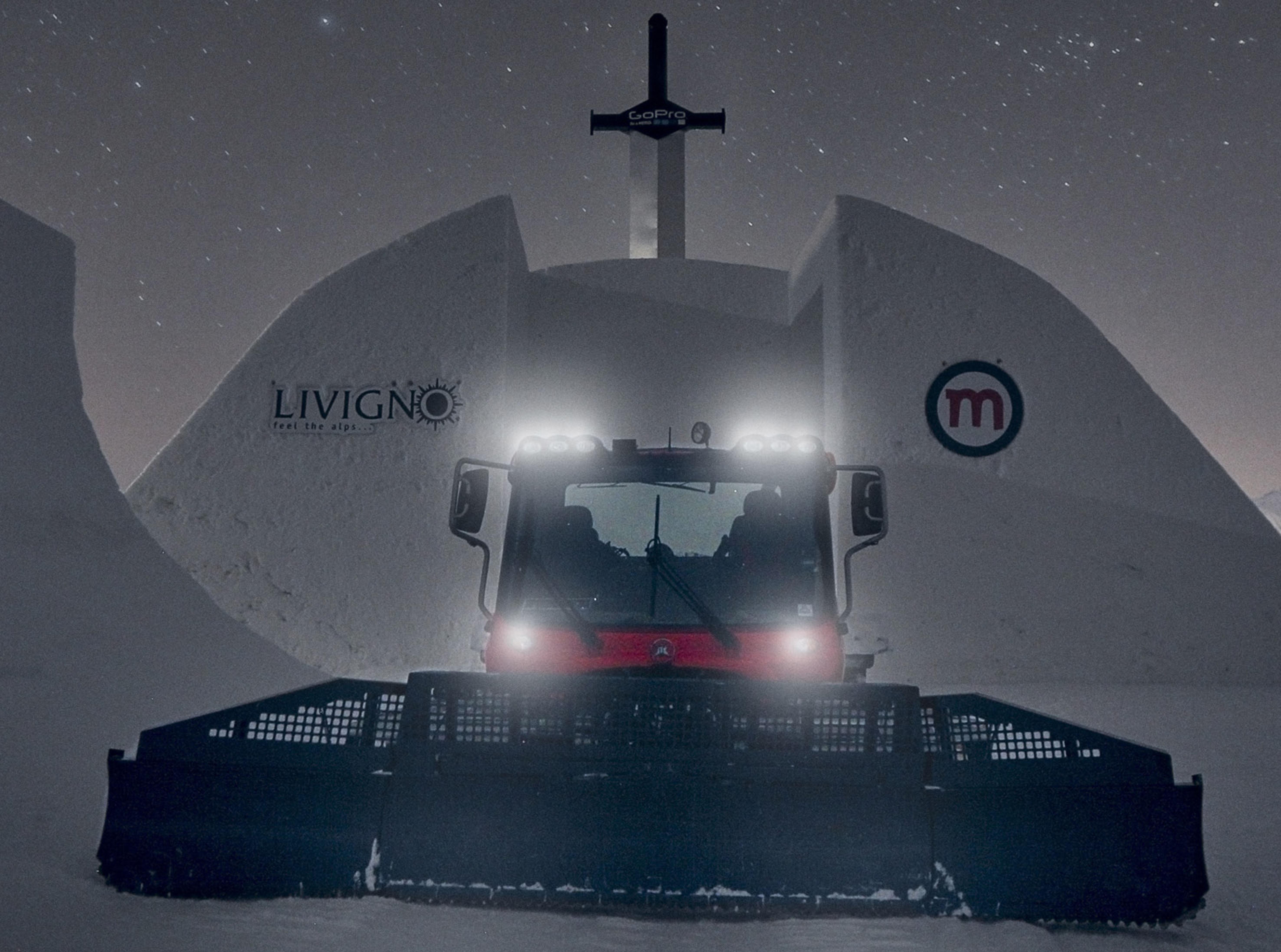 Gatto delle nevi in azione sul Mottolino
