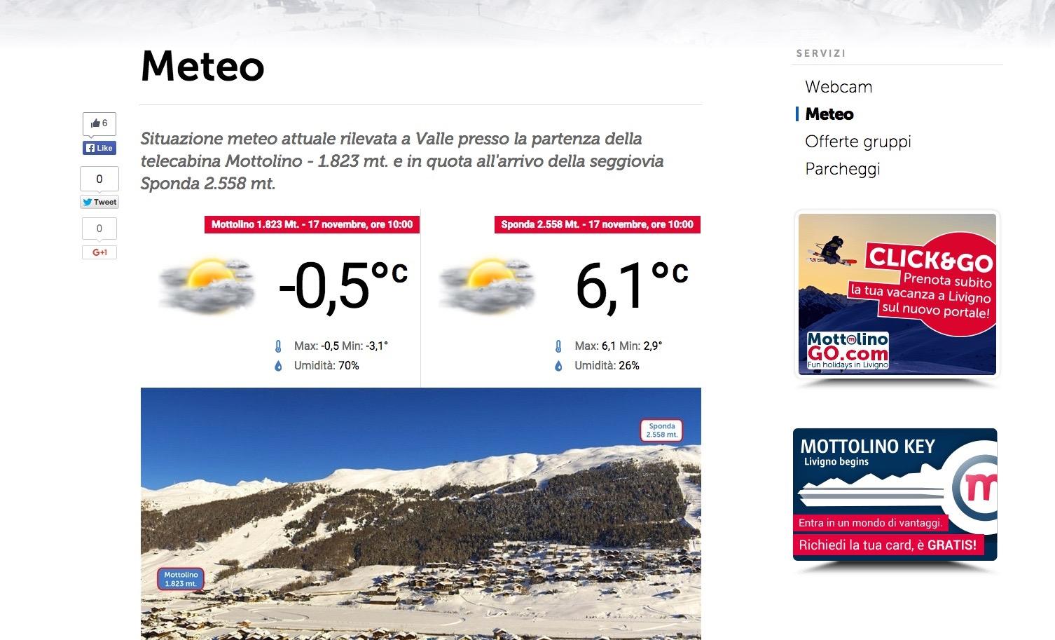 Previsioni del meteo a Livigno
