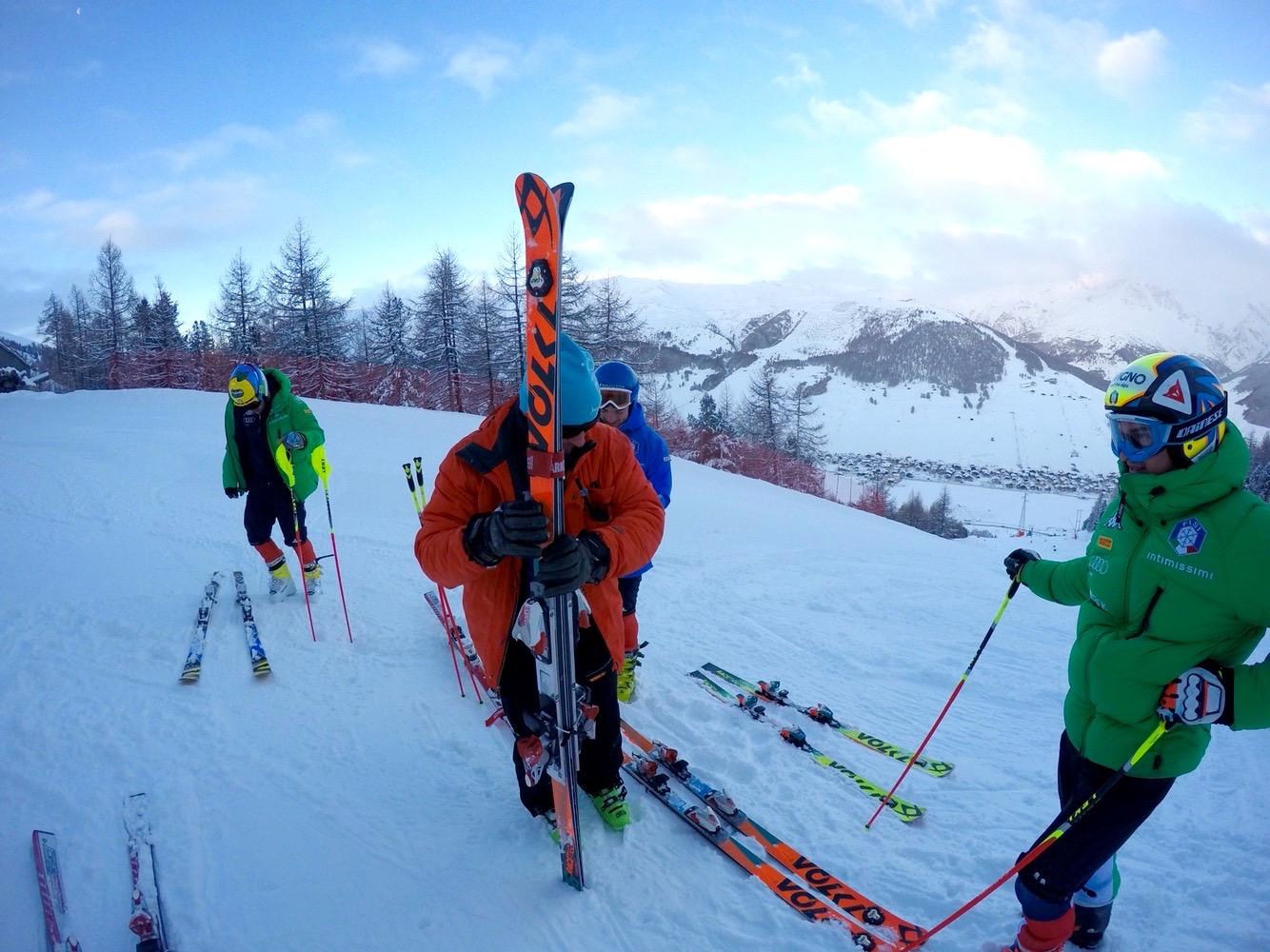 Allenamento di Roberto Nani e nazionale sci a Livigno