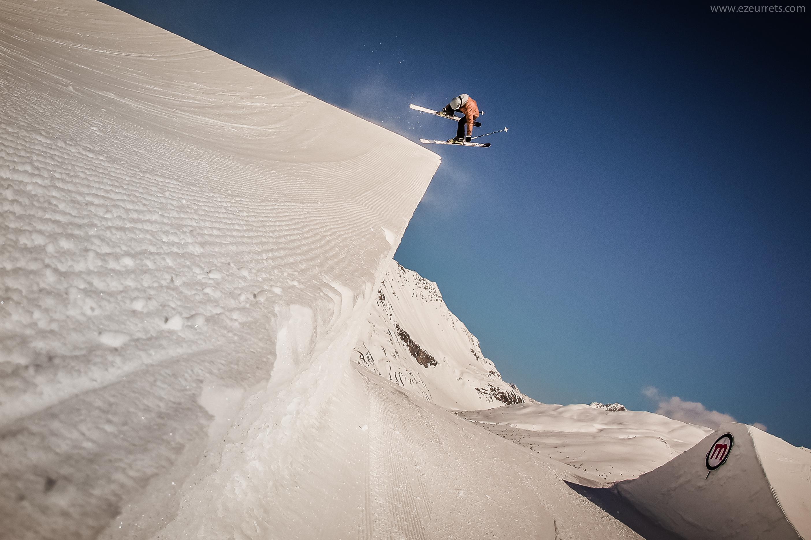 Sciatore sul Mottolino Snowpark