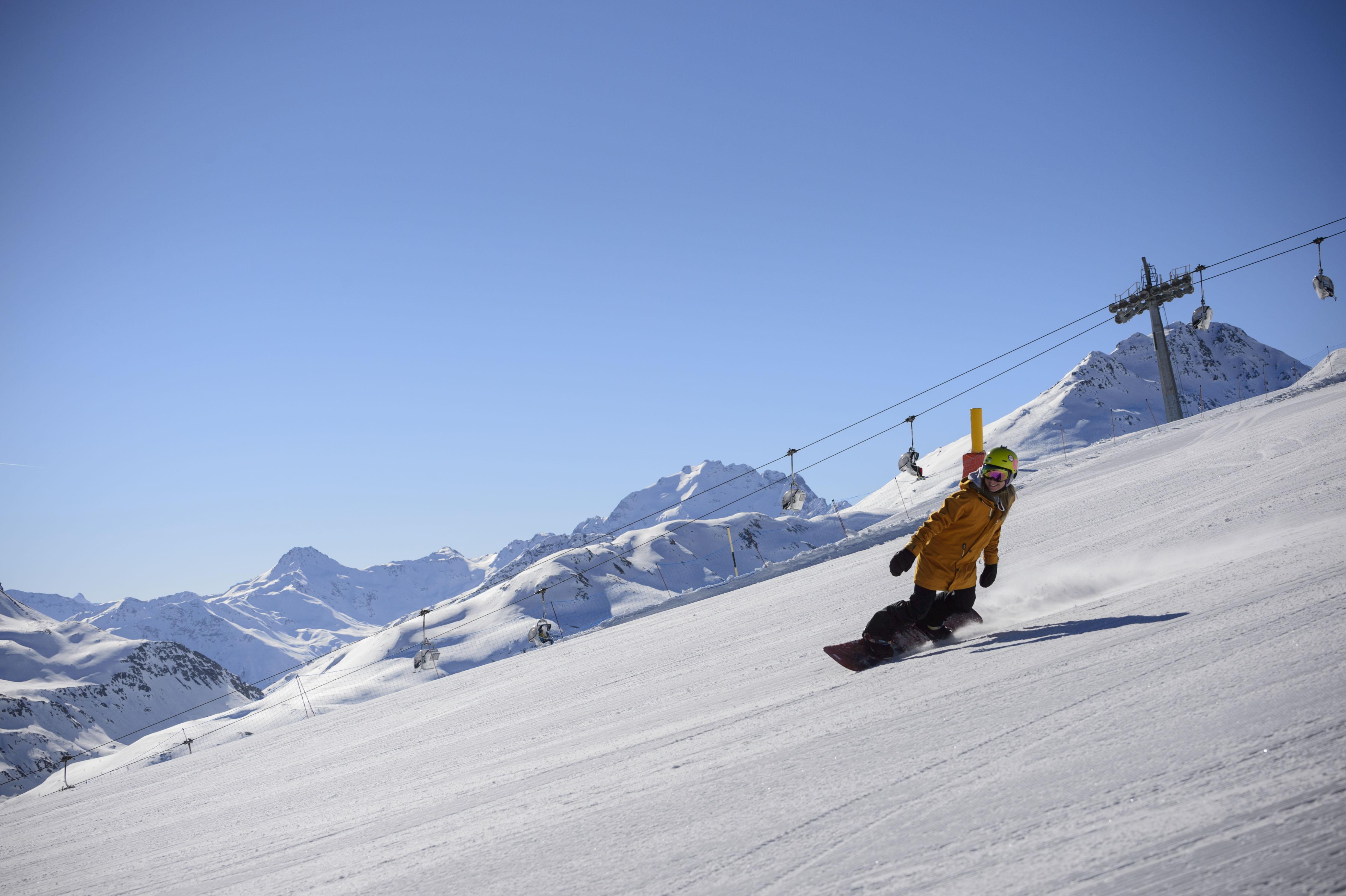 Snowboarder sul Mottolino