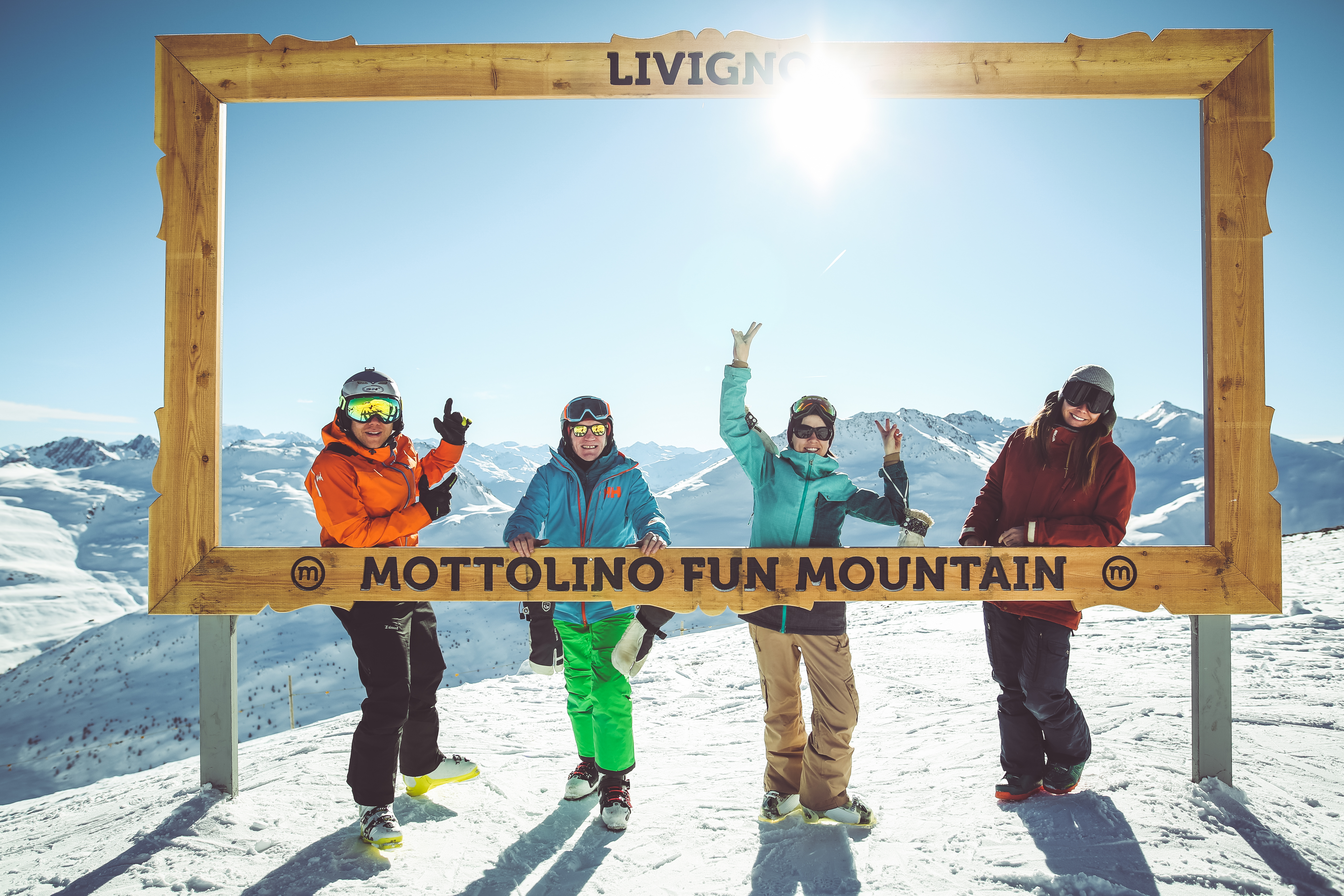 selfie sciatori al Mottolino