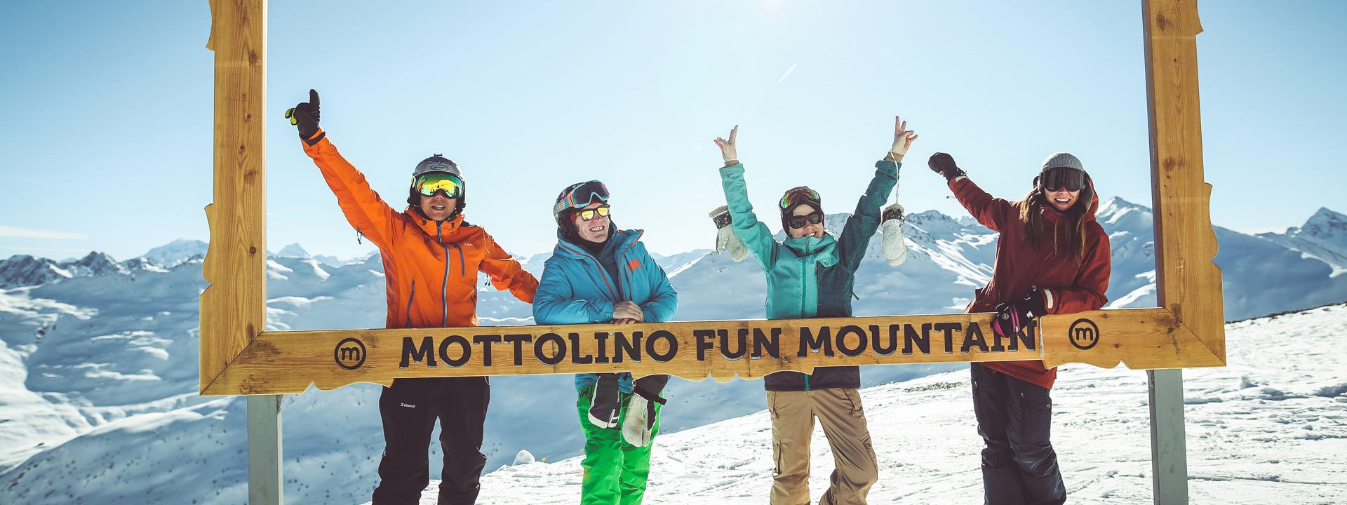 Grande divertimento in gruppo sulla ski area Mottolino a Livigno