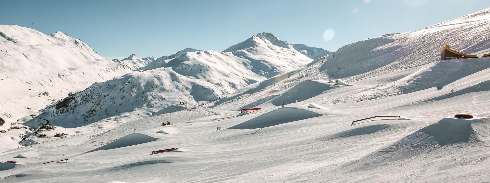 Panoramica dello snowpark Mottolino a Livigno