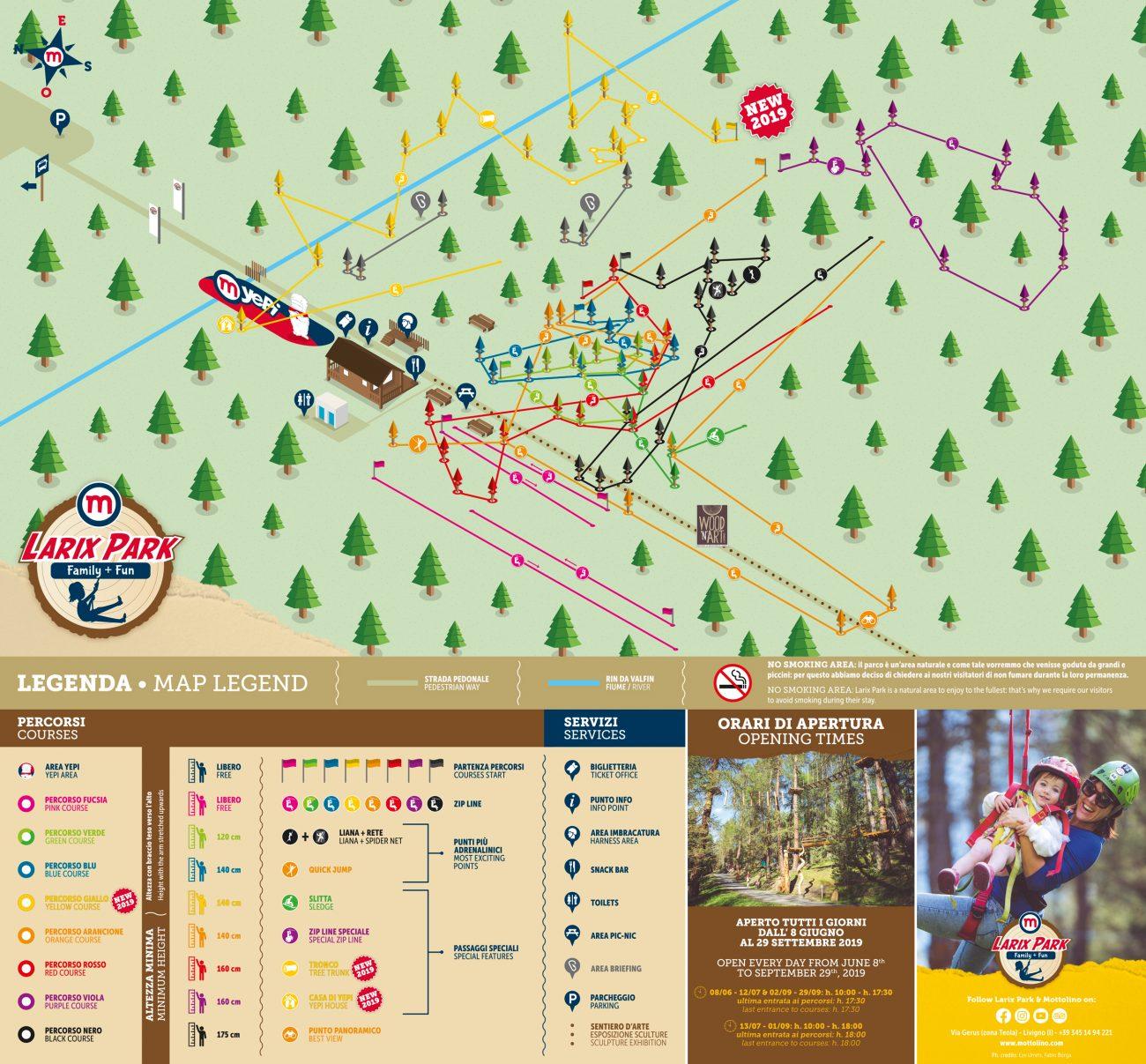 Mappa dei percorsi del Larix Park 2019 Livigno