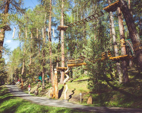 Panoramica del bosco del Larix Park a Livigno